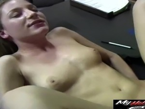 Office affair with a lovely brunette who cannot resist a shag