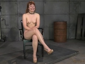 Redhead slave hair pulled when fucked in BDSM porn shoot
