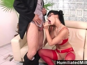 Horny secretary loves a cock up her ass