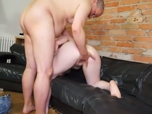 Old kinky stud fucks chubby short haired chick in doggy pose tough