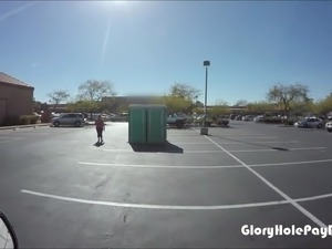 BBW swallows cum after workout in parking lot from her admirers at the gym