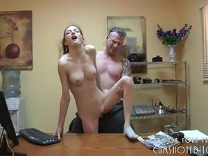 Young Teen Brunette Secretary Loves Pleasing Her Boss