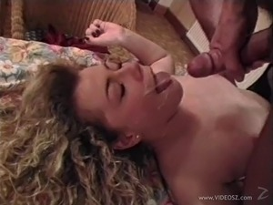 Curly-haired blond mom wearing pantyhose gets fucked from behind