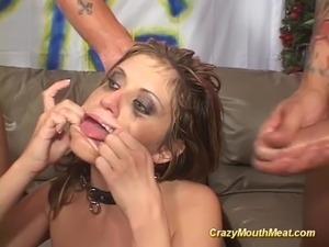 Cute babe gets extreme gagging bukkake orgy