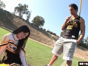 Gorgeous cheerleader fucked damn hard in a doggy position