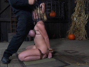 Stripped bondage slave punished with face fucking in BDSM