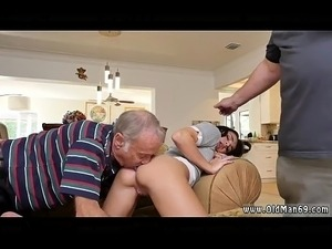 Old grandpa fucks hard and young brunette licks old man and fucks him