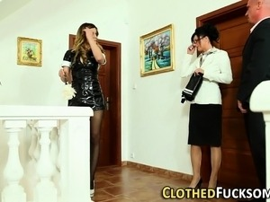 Clothed euro maid facial