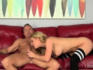 Gorgeous blonde with superb tits and ass is in need of a deep fucking