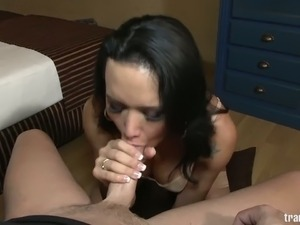 Kinky shemale slut Bianka Nascimento sucking big dick in POV
