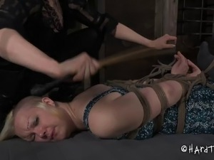 Sexy bondage slave anal getting inserted with toy in femdom BDSM