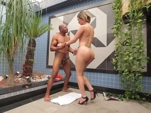 Fat ass shemale Katrina Rouge gets herself a nice dick