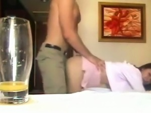 Bootyful hot and charming brunette wife of my buddy loves doggy fuck