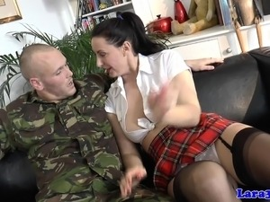 Balgagged mature brit arse fucked by private