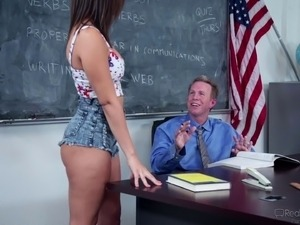 College cowgirl yelling when ravished hardcore by the teacher in classroom