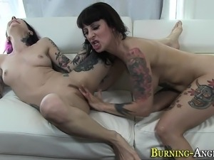 Goth whore eats creampie