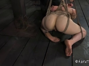 Big ass slave pleasured with multiple toys in BDSM porn