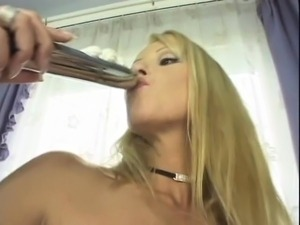 Bodacious lesbian lovers fuck each other with sex toys in the kitchen
