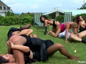 Dirty girls rides stiff dicks outdoor group sex orgy