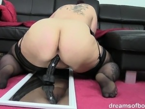 German Bbw Jill riding a huge black dildo
