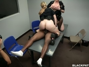 Two curvaceous and crooked white police women use black criminal for unlawful...