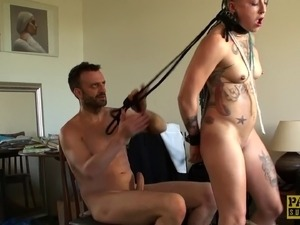 Bondage slave face fucked till getting facial cumshot in BDSM
