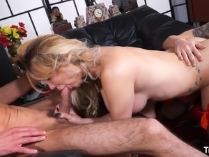 Gorgeous Raphaela Martins has a blast with a couple of fat cocks