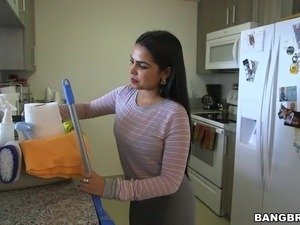 This busty Latina maid cleans in the nude then fucks her boss