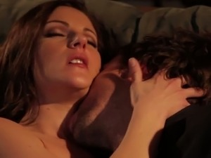 Dark haired horny MILF let her guy finger her throbbing pussy first