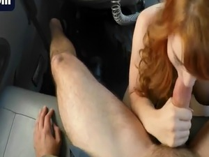 Flawless blonde fixing mess with blowjob on mad big cock tow truck dri