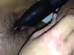 Soaking wet hairy pussy close up