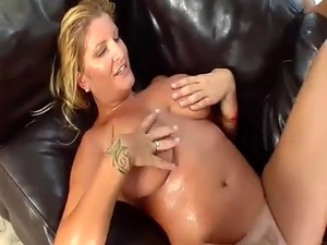 Hot blonde has her big tits creamed