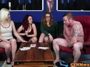 CFNM femdoms sucking and tugging subs dick