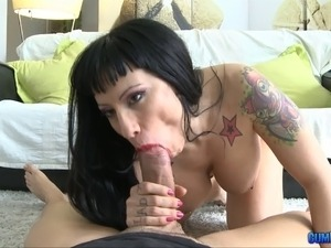 Tattooed punk babe is here for a big dick that will cum on her