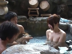 Subtitled uncensored Japanese mixed bathing threesome in HD