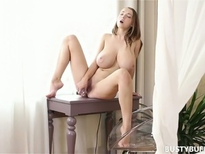 This busty babe can't wait for her BF to get home so she masturbates