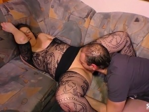 Chubby mistress trying to properly ride the dick of her new lover
