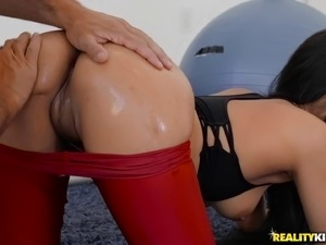 Petite Maya Bijou seduced by a trainer for a gym sex session