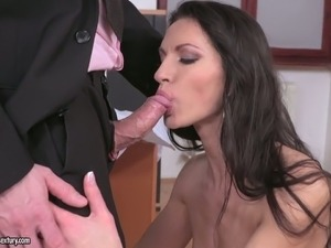 Fine elegant brunette office babe blows dick and fucks at work