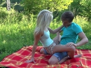 Teen blonde is all over her boyfriend for hot fun outdoors