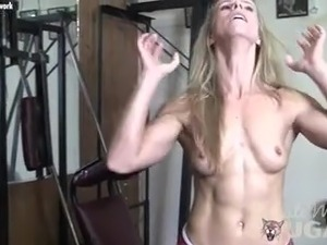 Fit Blonde Mature Masturbates in Gym