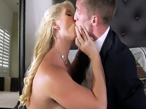 Blonde MILF gets Him off on Wedding day