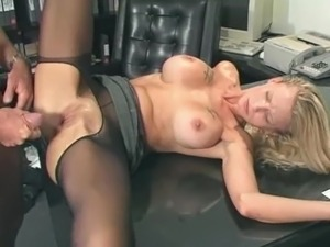 Hot milf Candy Apples gets her pussy and ass fucked deep in the office