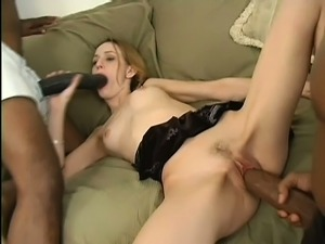 Cute blonde with pigtails has two masked black guys hammering her twat