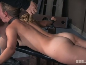 Lovely blonde lady with sexy booty laid on the bench and facefucked