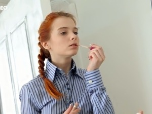 Incredible redhead fire teen in college outfit strips on cam and shows her...