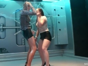 Sexy white slutty ladies fully clothed dance under shower