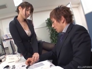 Well dressed Japanese secretary fucks her boss