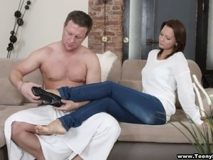 Sue gets undressed so that her lover can stick his rod inside her puss