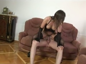 A hairy hottie in lingerie gets her big muff fucked hard